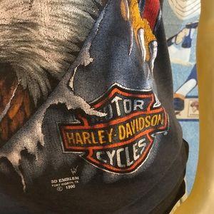 Harley-Davidson Tops - Vintage Harley-Davidson 3D Emblem Eagle Tank 1990